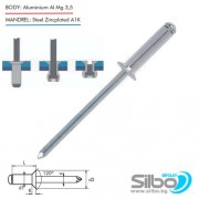 Поп нит 4.0 х 8 мм., скрита скосена / фрезенкова/ глава 120 градуса, алуминий / стомана DIN 7337 DIN EN ISO 15978