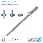 Поп нит 3.2 х 6 мм., стомана / стомана,  EN ISO 15979
