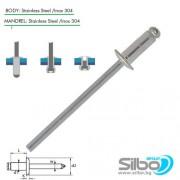 Поп нит неръждаем  3.2x12 мм. (A2/A2), EN ISO 15983