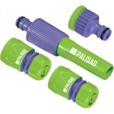 Комплект за свързване на маркуч 1/2 (струйник, адаптер 1/2-3/4, 2 съединителя), пластмасов