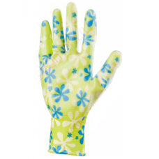 Градински ръкавици, полиестерни с нитрилово покритие, зелени, размер S