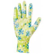 Ръкавици градински, полиестерни с нитрилово покритие, зелени, размер M
