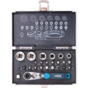 Комплект битове и вложки, 1/4, магнитен адаптер, 26 части, пластмасова кутия