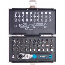 Комплект битове,1/4, магнитен адаптер, 33 части, пластмасова кутия