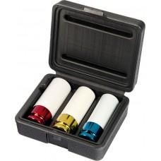 Комплект вложки ударни, удължени, 1/2'', 6-стенни, 3 бр., размери 17 mm, 19 mm, 21 mm