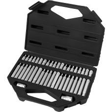 Комплект битове HEX, TORX, SPLINE, 6-ст. оп. 10 mm, вложка 1/2'', 42 части, пл. кутия