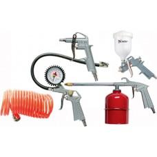 Комплект пневматични инструменти, 5 части, с бързи връзки (пистолет за боя с горно казанче)