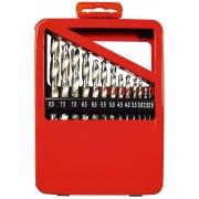 Комплект свредла за метал, 1-10 mm (през 0,5 mm), 19 бр., цилиндрична опашка, метална кутия