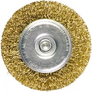 Четка за бормашина,  75 mm, плоска с опашка, вълнообразна стоманена тел