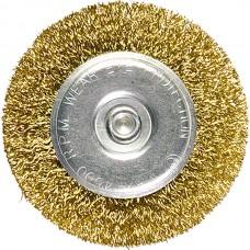 Четка за бормашина, 100 mm, плоска с опашка, вълнообразна стоманена тел