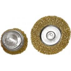 Комплект четки за бормашина, 2 бр., плоска 100 mm + чашковидна 75 mm, с опашки, вълнообр. стом. тел
