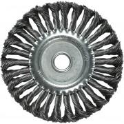 Четка за ъглошлайф, 125 mm, вътрешен D 22 mm, плоска, усукана на плитки стоманена тел