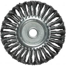 Четка за ъглошлайф, 150 mm, вътрешен D 22 mm, плоска, усукана на плитки стоманена тел