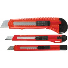 Комплект ножове макетни, изтеглящи се остриета, 9-9-18 mm, 3 бр.