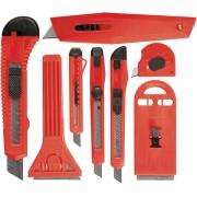 Комплект ножове макетни и стъргала: нож.изтегл.остр. 9mm - 4бр. и 18mm -2бр., стърг. 40-62mm -2бр.