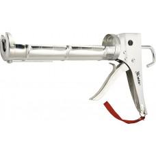 Пистолет за силикон, 310 ml, полуотворен тип, хромиран, назъбен бутален прът 7 mm